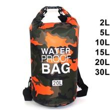 Водонепроницаемый плавательный мешок сухой Sack камуфляж Цвета рыбалки, гребля на байдарках хранения плаванье сумка 2L 5L 10L 15L 20L 30L