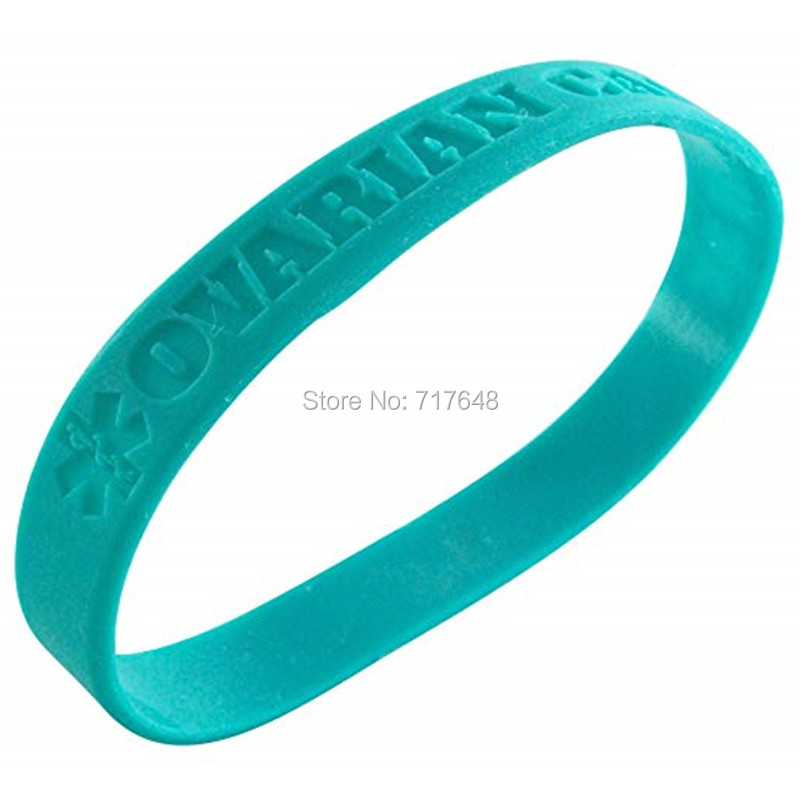 100pcs Medical Alert Ovarian Cancer wristband silicone bracelets free shipping by epacket A