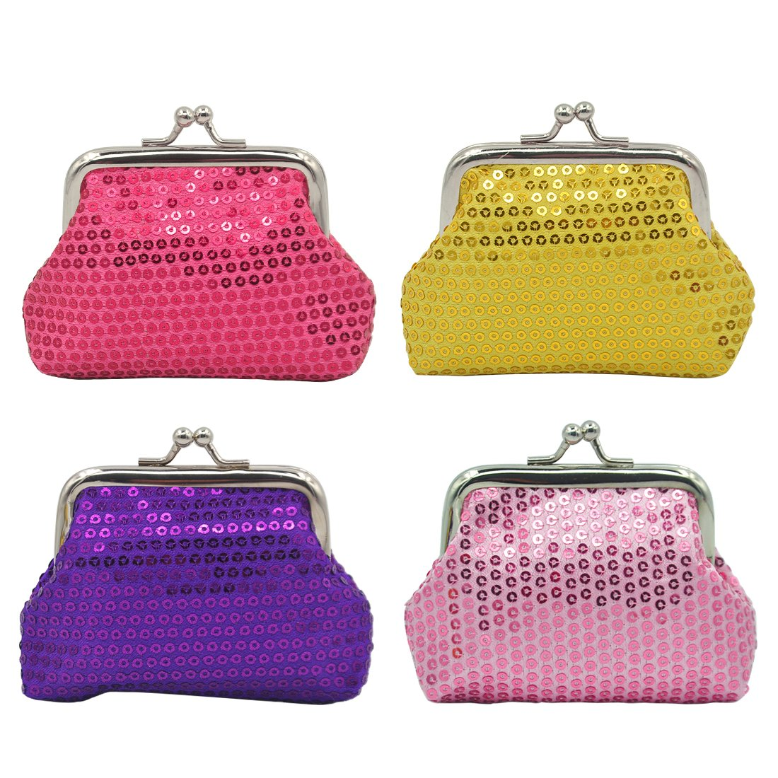 Coin Pouch Purse 4 Packs Cute Canvas Gift Jewelry Trinkets Pouch Clasp Closure Wallet Assorted Colors (4 Pcs Sequins Coin Pouc