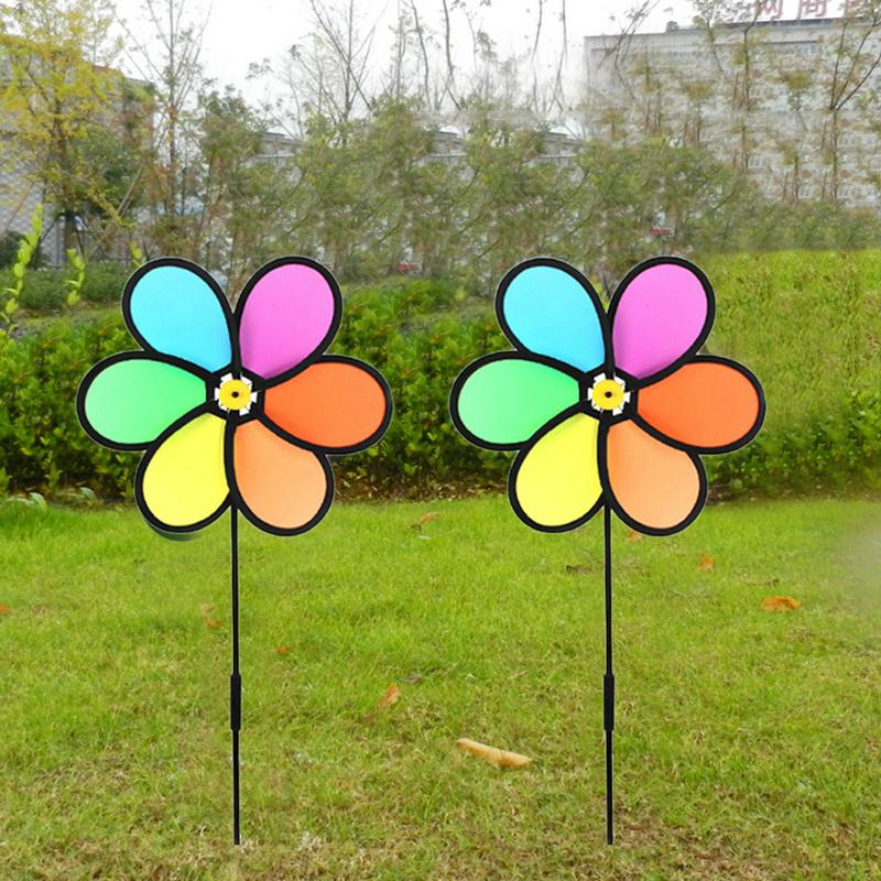 Colorful Small Flower Windmill Wind Spinner Home Garden Yard Decoration Kids Toy Garden Ornament Outdoor Buildings Wind Spinners