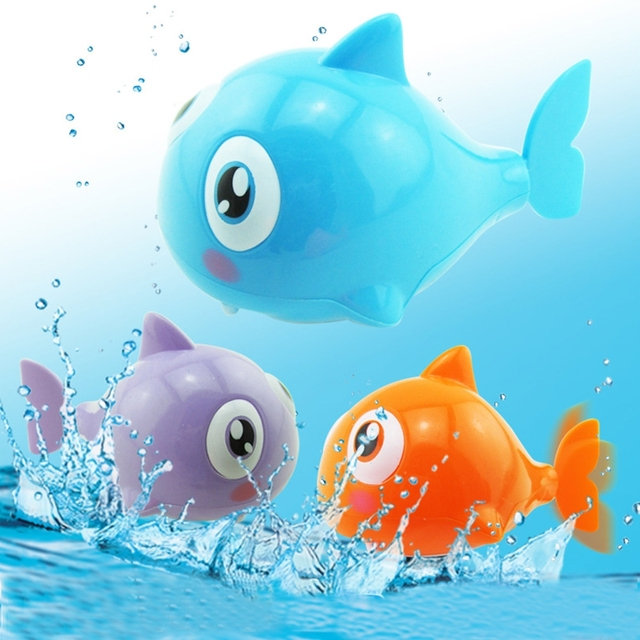 6e351281f451f5 Nette Cartoon Lustige Baby Bad Spielzeug Schwimmen Tier Fisch Uhrwerk Wind  Up Spielzeug Hai Kunststoff Pool