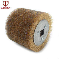 0.3mm Wire Copper Coated Steel Wire Drawing Polishing Wheel Deburring Abrasive Grinding Tool 100mmx120mm
