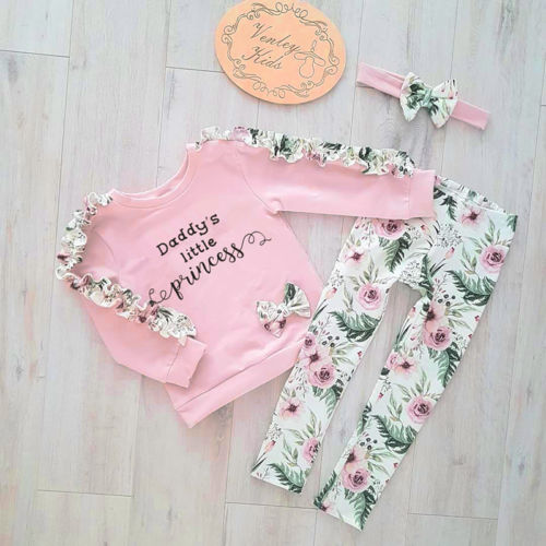 Newborn Kids Baby Girl Floral Ruffle Tops Pants Leggings Headband Outfit Clothes