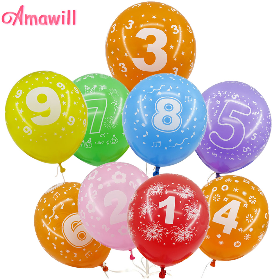 Amawill 10pcs Kids Birthday Balloon Number 1 2 3 4 5 6 7 8 9 Years Old 1st 2nd Party Digital Ballon Latex Globos 75D