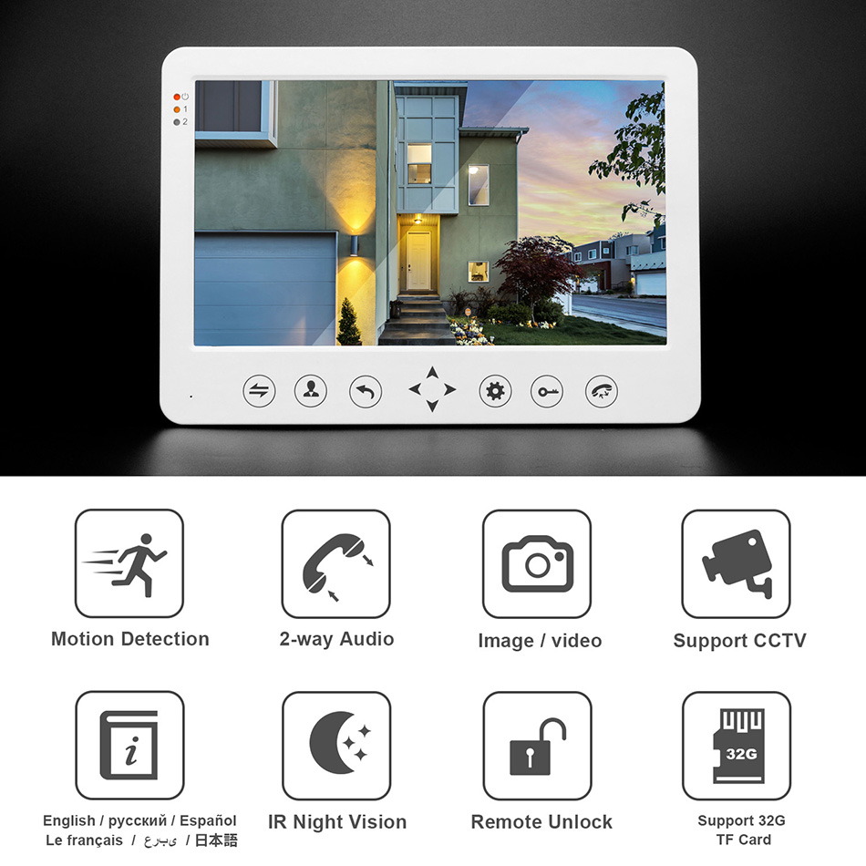 Image 5 - HomeFong Video Door Phone Wired Video Intercom for Home 10 inch Monitor Doorbell Camera Support Motion Detect Record/CCTV Camera-in Video Intercom from Security & Protection