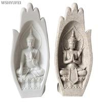 2pcs Small Buddha Statue Monk Figurine Tathagata India Yoga Mandala Hands Sculptures Home Decoration Accessories Ornaments