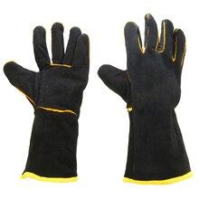 1 para Heavy Duty Schweißer Leder Handschuhe Schutz Schwarz Wärme Beständig Mig Schweißen Hände Arbeitsplatz Sicherheit Handschuhe Stulpen