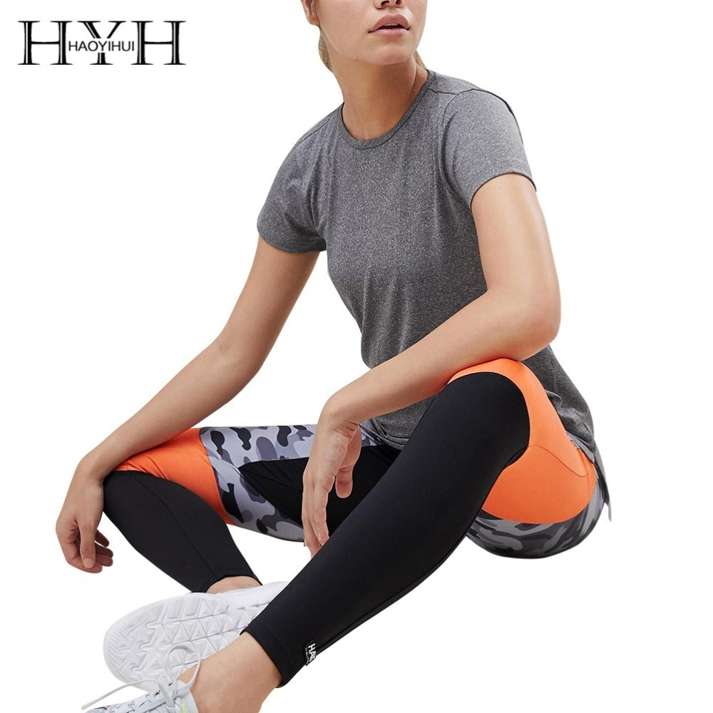 HYH HAOYIHUI  2019 Summer Girls Hot Pure Color Simple Commuter Halter Sexy Sports Casual T-shirt