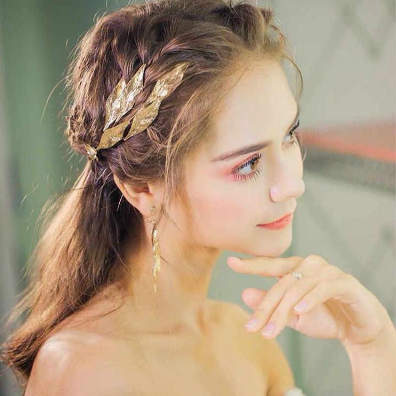 VINTAGE Gold Leaf Tiara กับต่างหูใหญ่ใบ Headbands แต่งงานมงกุฎเจ้าสาวอุปกรณ์เสริมผมเครื่องประดับผมผู้หญิง