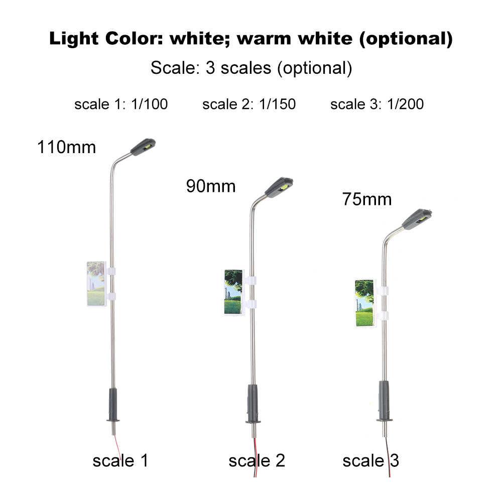 20 sztuk biały Model światła uliczne układ Lamppost pociąg ogród plac zabaw dekoracje oświetlenie lampa led 1:100 skala 110mm