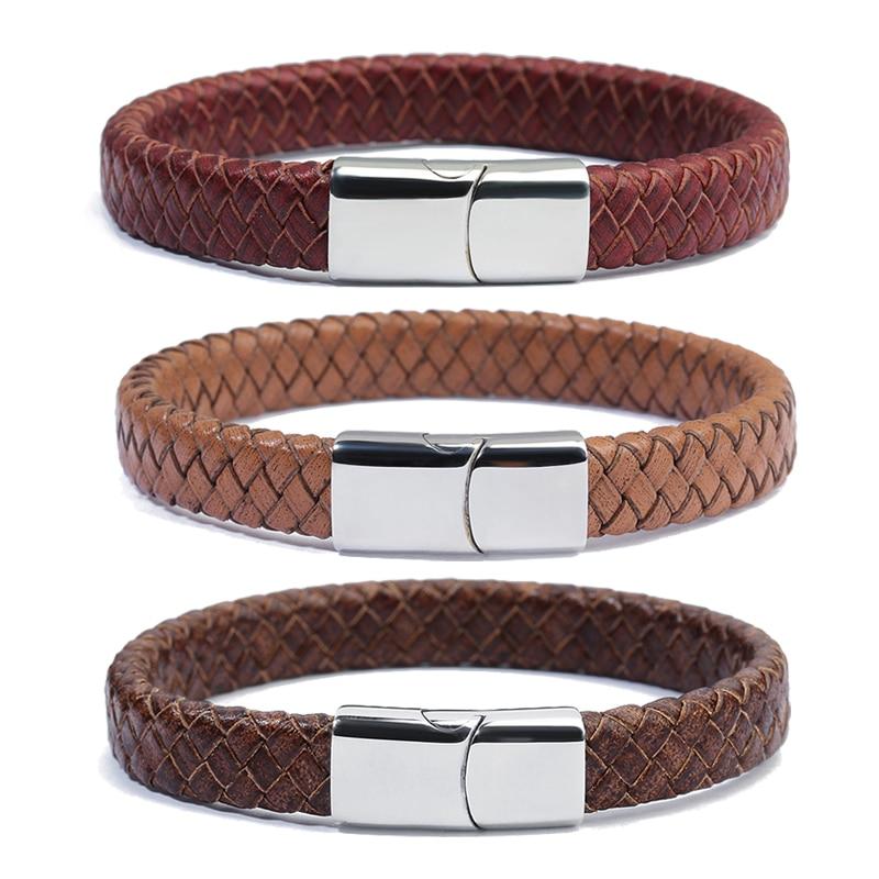 XINYAO Red Brown Black 100% Genuine Braided Leather Wrap Bracelet Men Women Stainless Steel Magnet Wide Bracelets Pulsera