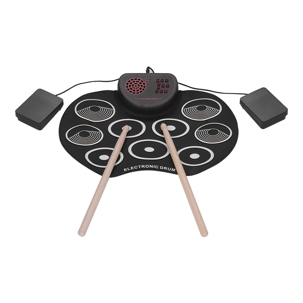 Portable Electronic Drum Set USB Roll Up Drum Pad Kit Built-in Speaker Sticks and Foot Pedals Digital Percussion InstrumentsPortable Electronic Drum Set USB Roll Up Drum Pad Kit Built-in Speaker Sticks and Foot Pedals Digital Percussion Instruments
