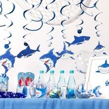 30pcs Shark Foil Swirl  Birthday Decorations Blue Nemo Submarine World Ocean Sea Theme Party Boy Decor