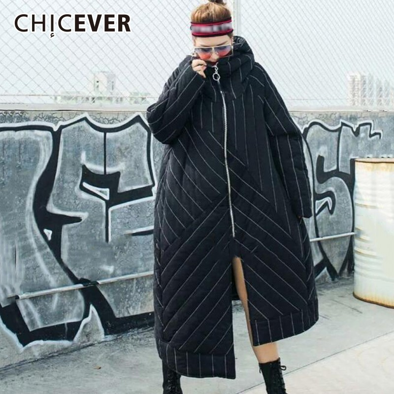 CHICEVER Striped Women s Winter Jackets Hooded Long Sleeve Zipper Asymmetric Hem Coat Female Jacket Fashion