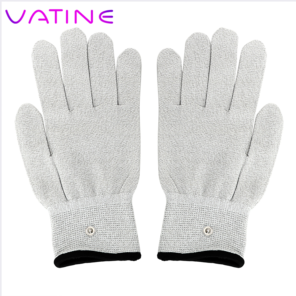 VATINE 1 Pair Electric Shock <font><b>Gloves</b></font> <font><b>Electro</b></font> Stimulation Medical Themed Toys Conductive Massage <font><b>Sex</b></font> Toys for Men Women image