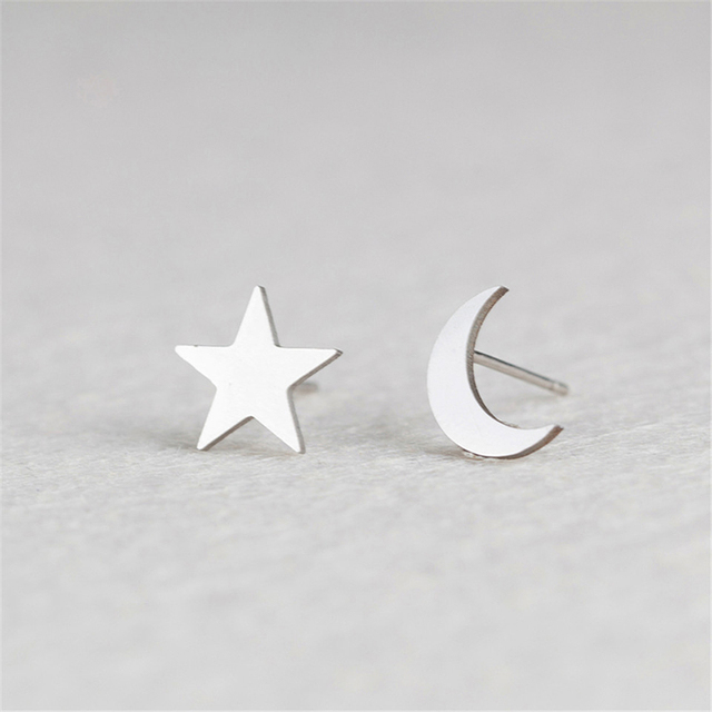 2Pair Lovely Moon Stud Earrings Silver/Gold Color Stainless Steel Star  Korean Minimalist Earrings Jewelry Accessories for Women