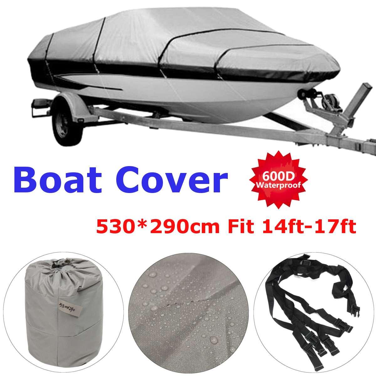 600D gris imperméable couverture de bateau de pêche Protection UV 14-17 Ft remorque résistant pêche Ski bateau couverture v-coque 114 ''faisceau