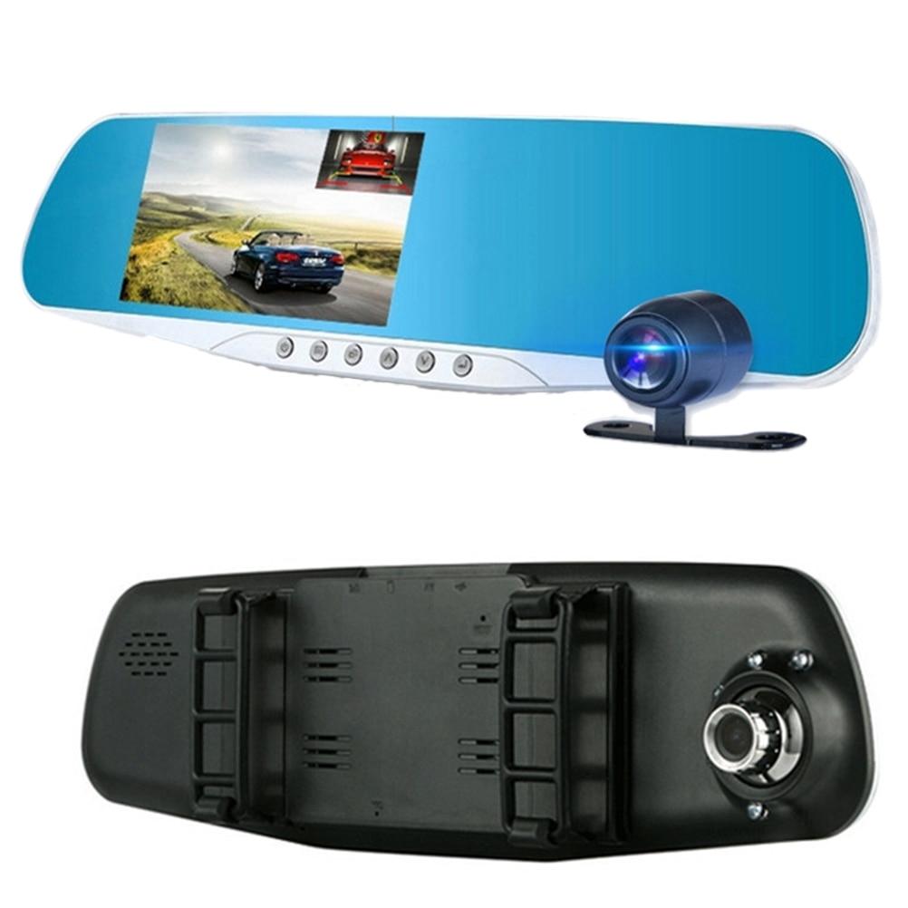1 PC 1080P 4 3 Inch Wide Angle Dual Camera Car Camcorder Rear Mirror Car Recorder