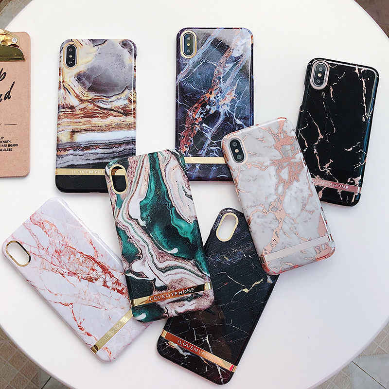 Shiny agate marble Pattern gold bar Phone Case For iphone X XR XS Max 6 6S 7 8 Plus Fashion Glossy hard Plastic Back Cover