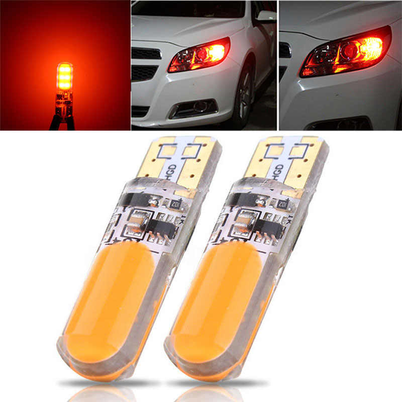 JXLCLYL 2 pièces T10 W5W COB LED voiture silice Flash stroboscope largeur ampoule Orange