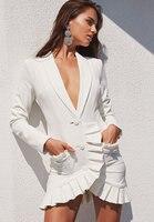 Women White Long Sleeve V neck Elegant Mini Dress High Quality Cocktail Party Bodycon Dress Vestido