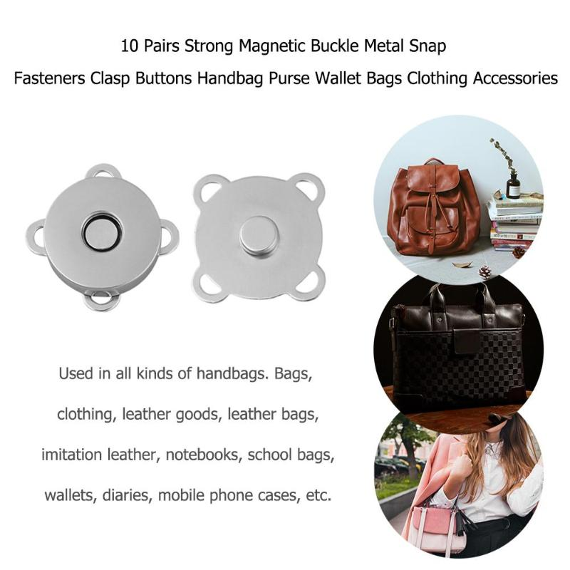 10 Pairs Strong Magnetic Buckle Metal Snap Fasteners Clasp Buttons Handbag Purse Wallet Bags Clothing Accessories
