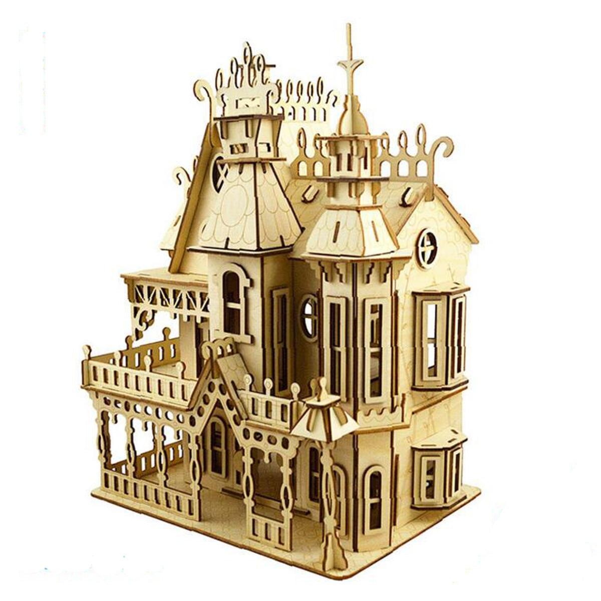 Nouveau Style victorien pignons poupées maison jouets en bois maison de poupée Laser coupe bois meubles Kit de construction exposition meubles cadeau