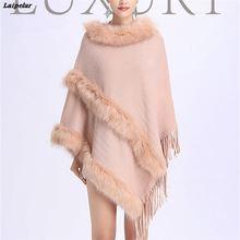 лучшая цена Laipelar Women's Faux Fox Fur Wrap Winter Warm Ladies Knitted Shawl Fashion Poncho Pashmina New Blanket Scarves Cape Laipelar
