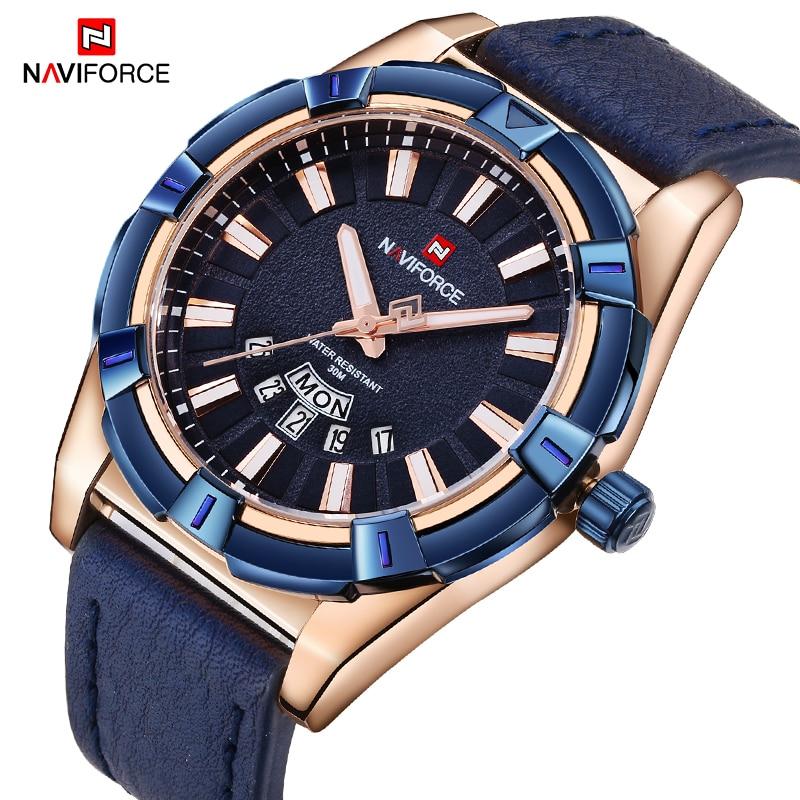 купить NAVIFORCE Top Brand Men Sports Watches Fashion Waterproof Analog Quartz Wrist Watch Leather Strap Clock Male Relogio Masculino по цене 1291.27 рублей