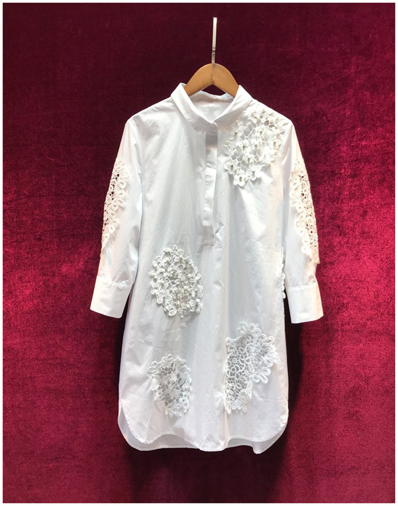 2019 Summer Fashion Designer Cotton White Dress Women's Elegant Hollow Out Embroidery Casual Loose Shirt Dresses Clothing Good Companions For Children As Well As Adults