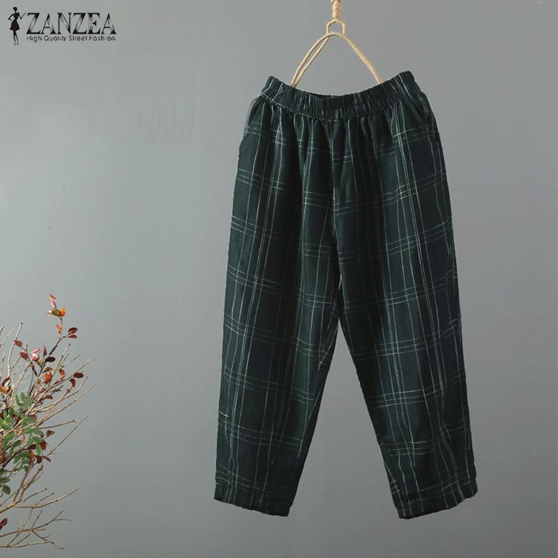 Vintage Check Harem Pants ZANZEA 2019 Women Pantalon Female Elastic Waist Trousers Spring Autumn Casual Palazzo Pants Plus Size