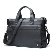 "Men Leather Business Briefcase Laptop Document Case s660-40 Cow Skin Messenger Bag Tote Portfolio 14"" inch Laptop Bag"
