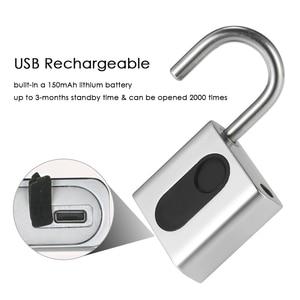 Image 5 - Smart Keyless Door Lock USB Rechargeable Fingerprint Lock IP65 Waterproof Anti Theft Security Padlock Luggage Case Backpack Lock