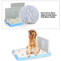 Indoor Pet Dog Puppy Potty Tray with Pee Post Protection Simulation Wall,No Torn Puppy Pad Dog Toilet for Male/Boy Puppies and