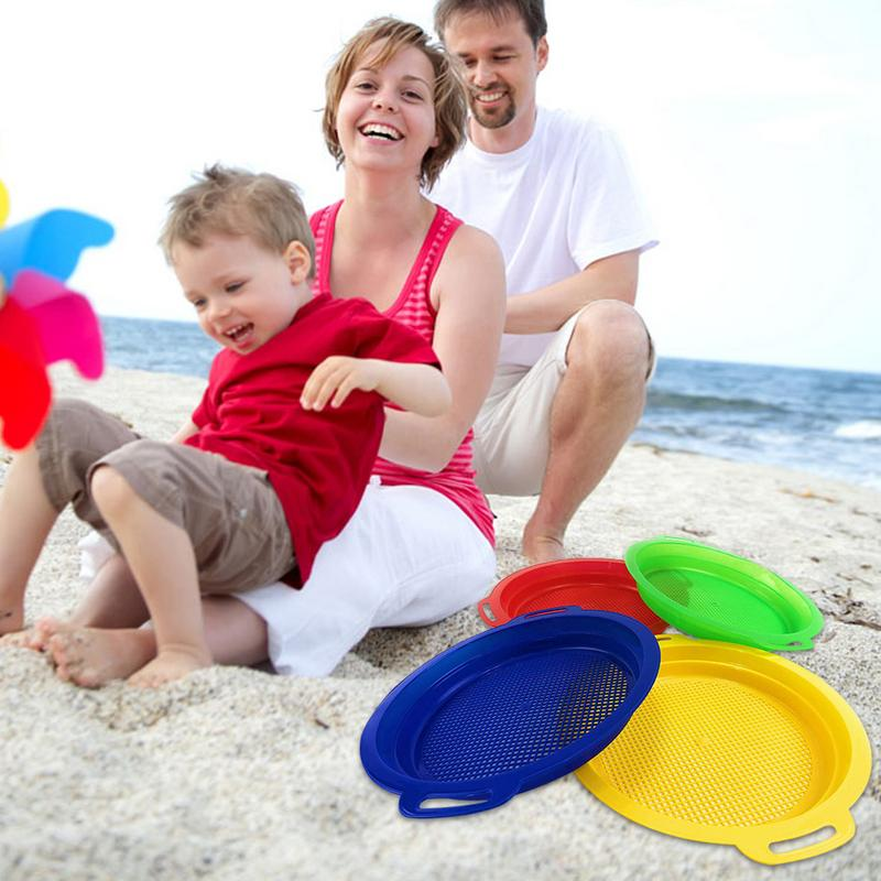 4 Pack/Set Children Sand Sifter Sieves Toy For Sand Beach Red Blue Yellow Green Beach Sand Toy