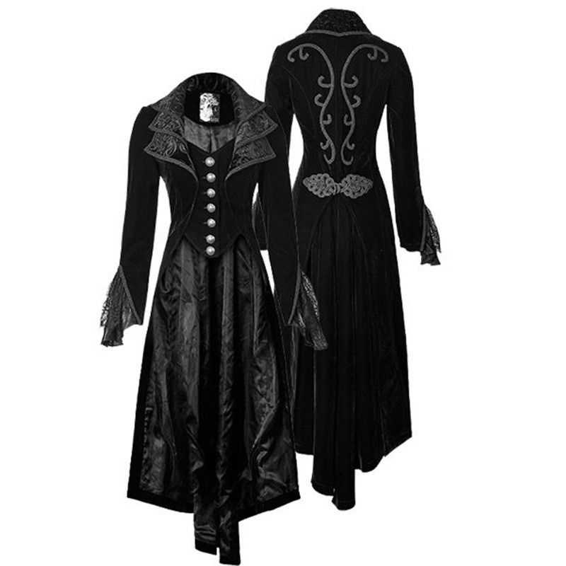 bb43be8a0e23 Retro gothic steampunk Women lace patchwork Long flare Sleeve Coat Autumn  Casual buttons decor Ladies Jacket