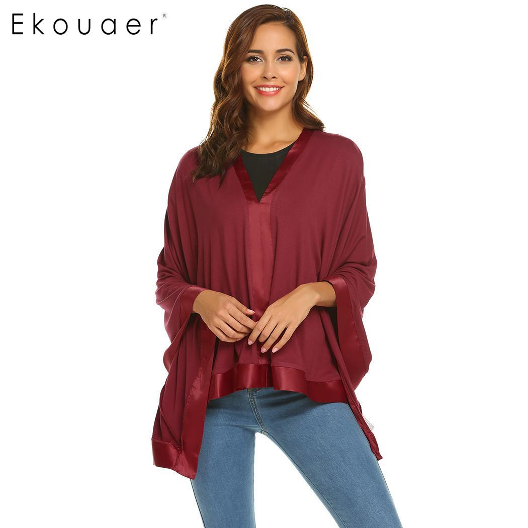 Ekouaer Women Nightshirts Sleeping Tops A-Line Pleated Asymmetrical Hem Loose Nursing Shawl Cover Nightwear Lounge Top Sleepwea