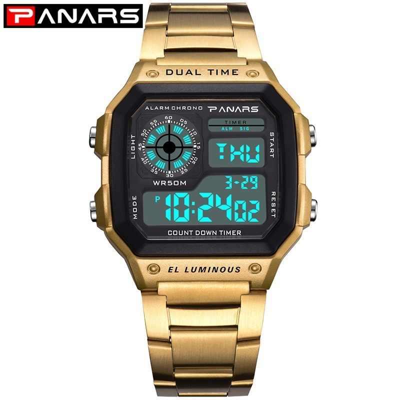 Panars 腕時計メンズスポーツデジタル腕時計クロノグラフ防水腕時計ステンレスビジネス腕時計レロジオ Masculino 男性時計