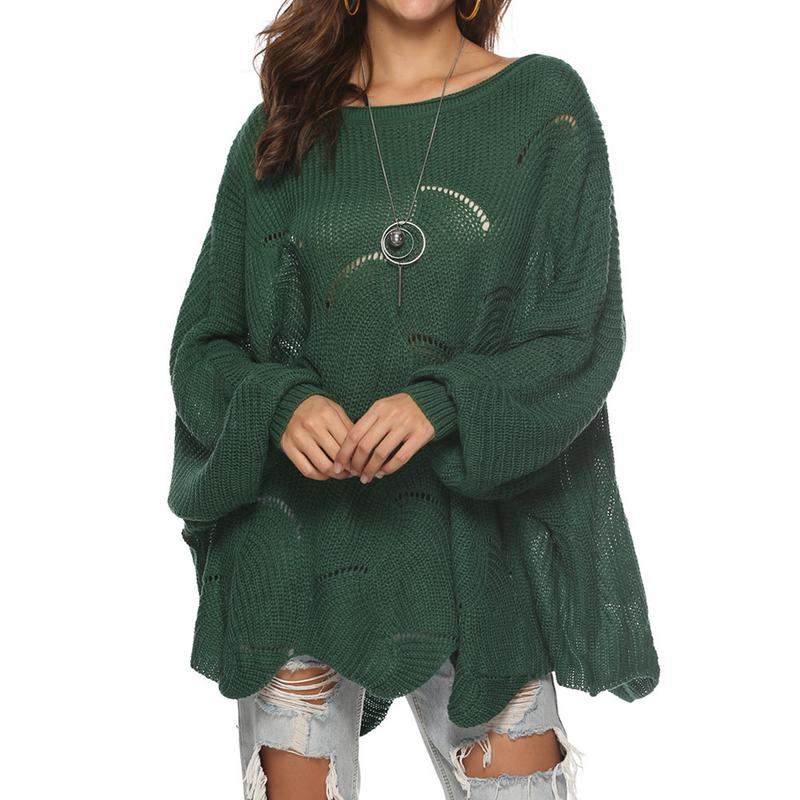 2019 Women Knitted Sweater Cloak Loose Shawl Pullover Autumn Winter Sweater Hook Flowers Plus Size Women Streetwear Poncho
