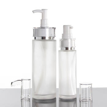 China suppliers 100ml empty skincare lotion/toner container, 100ml lotion glass bottle with long pump
