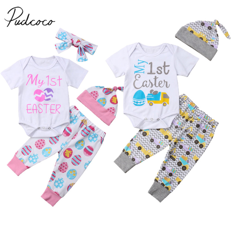75166279a922 2019 Brand New Newborn Baby Girl Boy My 1st Easter Clothes Sets Short  Sleeve Romper Tops