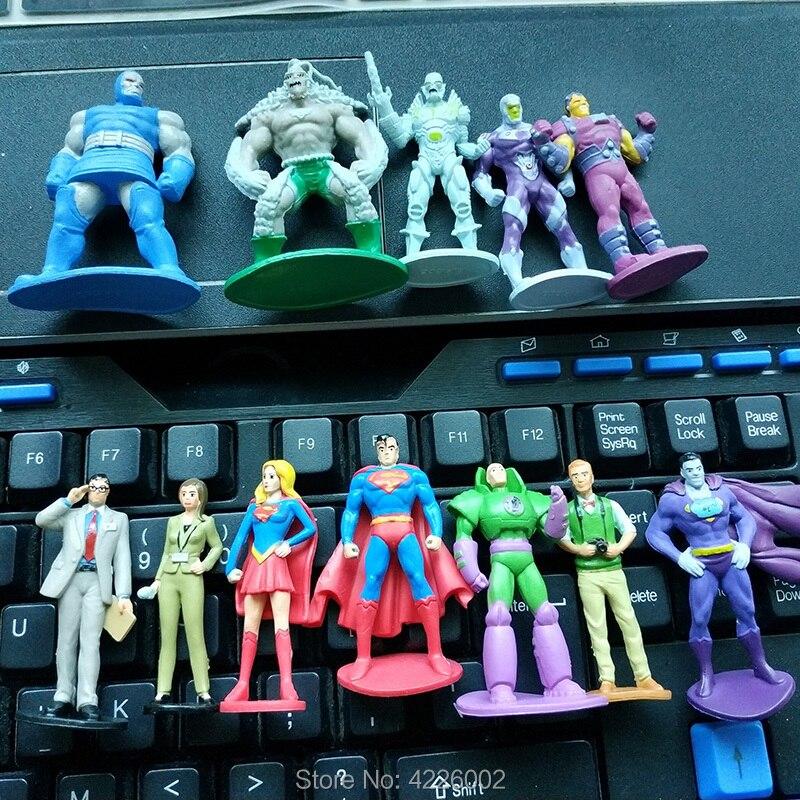 12pcs Superman Brainiac Doomsday Superhero Mini Pvc Action Figures