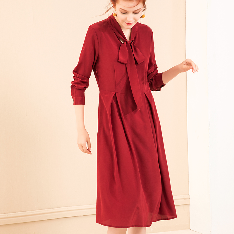 Kadın Giyim'ten Elbiseler'de Kadın Ipek Elbise 23mm 100% GERÇEK IPEK Krep Yay yaka Uzun Elbiseler Kadınlar için Ağır Ipek 2019 Bahar Yeni ofis bayan Elbise Şarap'da  Grup 2