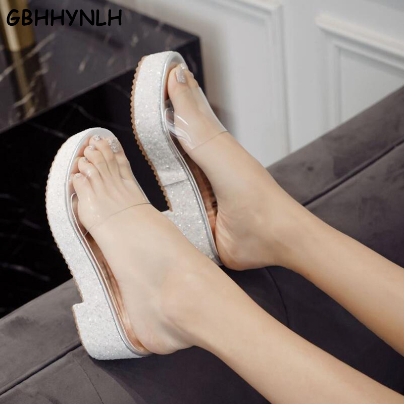 GBHHYNLH White Womens Slippers Outdoor Chunky High Heels Clear Narrow Band Beach Transparent Shoes Glitter Crystal
