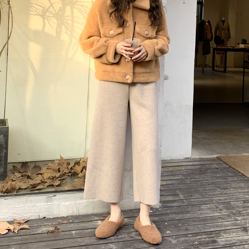 Knit   Wide     Leg     Pants   Female Autumn and Winter Retro High Waist Loose Casual   Pants   Drape Straight   Pants   Loose   Pants   Women