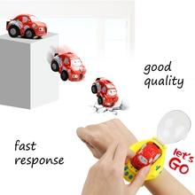 Gravity Sensor RC Mini Pocket Racer Cars Remote Control Cute Cartoon Kid Toy Watch Small Electric Dual-CTRL Vehicle USB Recharge