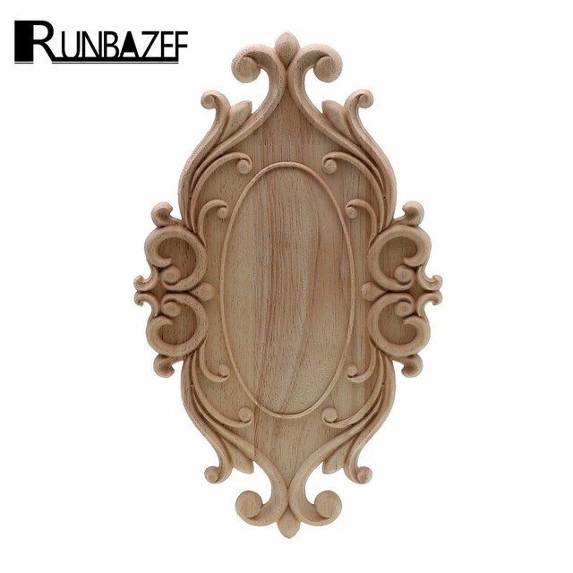 RUNBAZEF Solid Wood Furniture Decorative Accessories New Flower Carved Door Vintage Home Decor Figurines Miniatures Ornaments 1