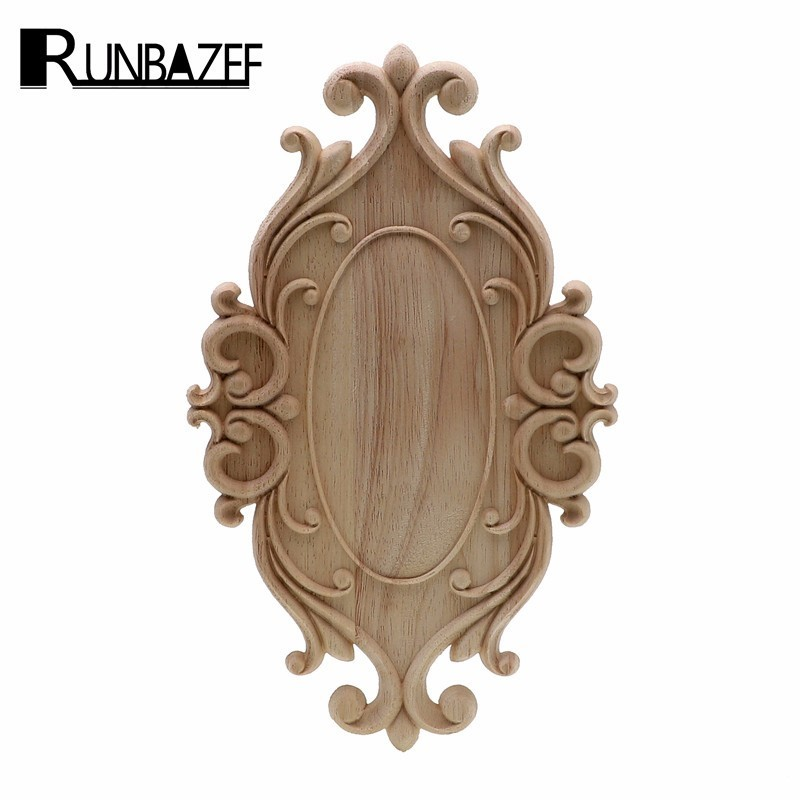 RUNBAZEF Solid Wood Furniture Decorative Accessories New Flower Carved Door Vintage Home Decor Figurines Miniatures Ornaments