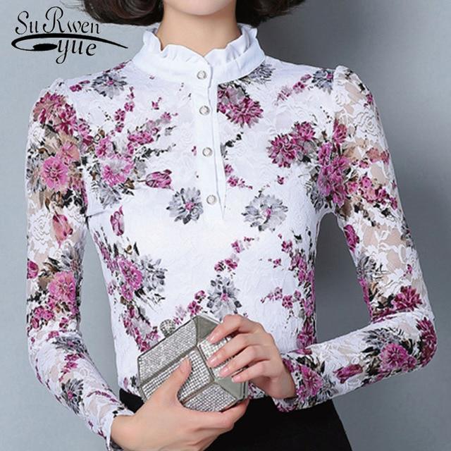 New 2017 Fashion Blusa Women Brand shirt Slim Printed shirt long-sleeved Female lace Tops Women lace blouse Plus size 4XL 36i 25