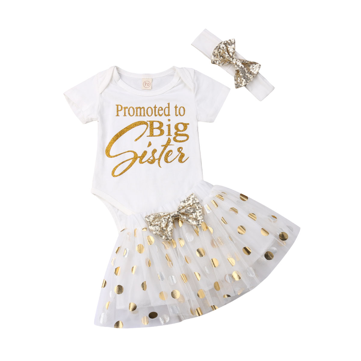 Warehouse Price 3pcs Newborn Toddler Infant Baby Girl Clothes Letter T-shirt Tops+Dot Skirt+Headband Adorable Clothes Set 0-24M